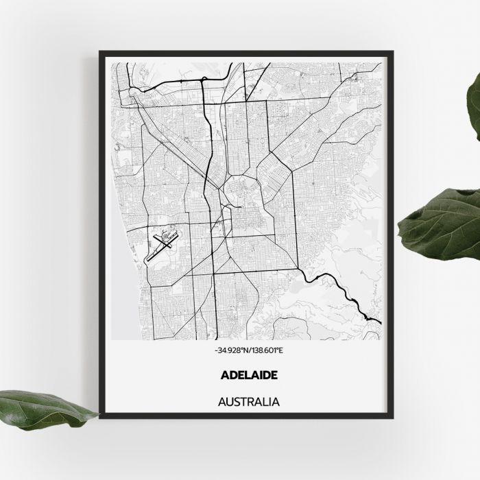 Adelaide Map In Australia.Adelaide Map Print